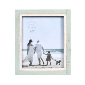 Shoreline 8-Inch by 10-Inch Two-Tone Distressed Wood Picture Frame, Green and White