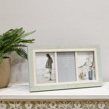 Load image into Gallery viewer, Shoreline 4-Inch by 6-Inch Collage Photo Frame for Three Photos in Two-Tone Distressed Wood Finish, Green and White