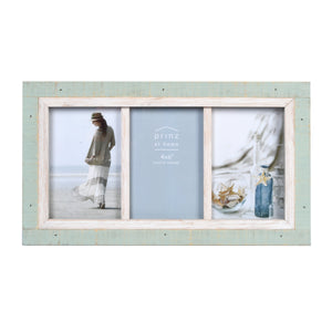 Shoreline 4-Inch by 6-Inch Collage Photo Frame for Three Photos in Two-Tone Distressed Wood Finish, Green and White