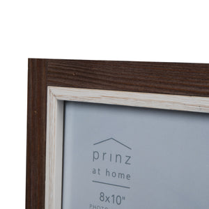 Shoreline 8-Inch by 10-Inch Two-Tone Distressed Wood Picture Frame, Brown and White