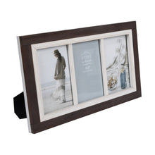 Load image into Gallery viewer, Shoreline Two-Tone 4-Inch by 6-Inch Collage Photo Frame for Four Photos in Distressed Wood Finish, Brown and White