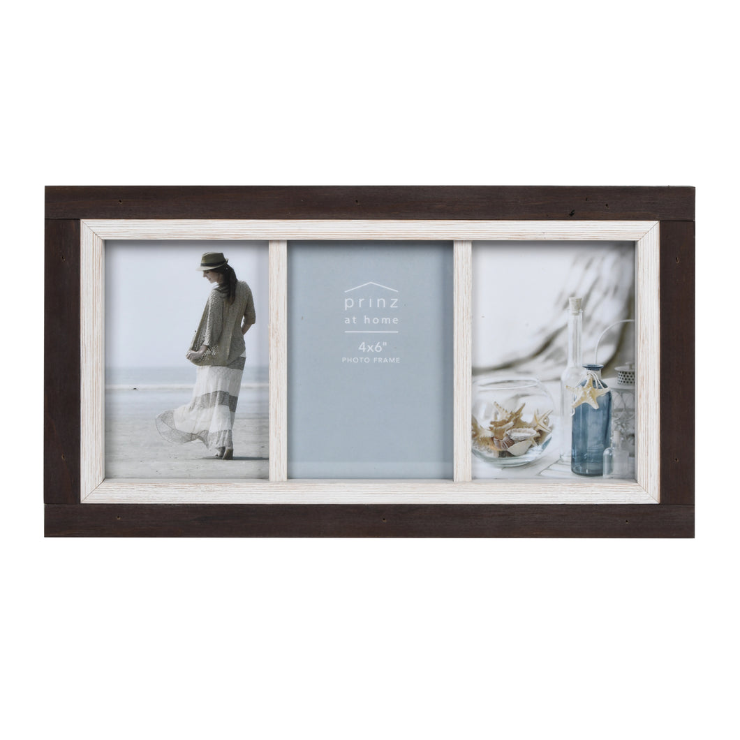 Shoreline Two-Tone 4-Inch by 6-Inch Collage Photo Frame for Four Photos in Distressed Wood Finish, Brown and White
