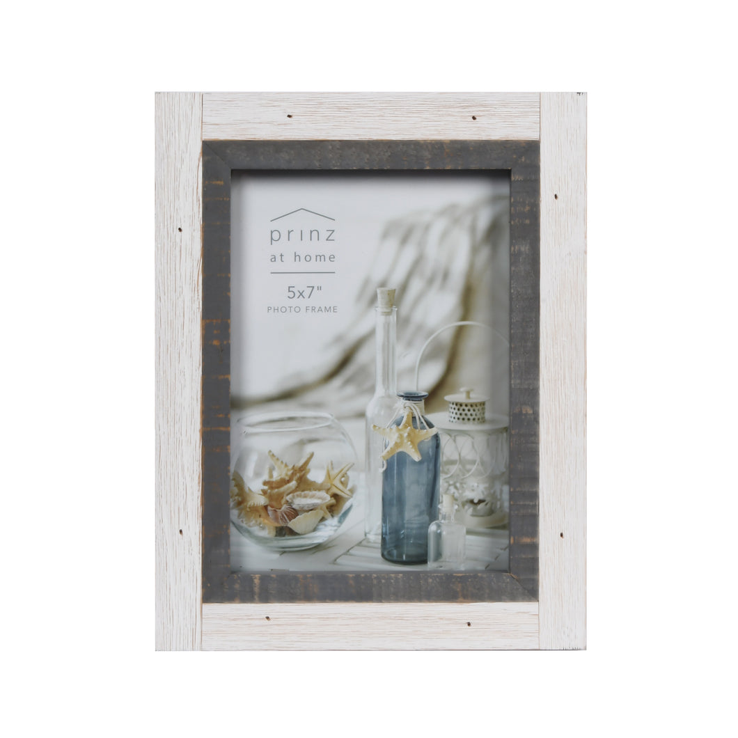 Shoreline Two-Toned 5-Inch by 7-Inch Distressed Wood Picture Frame, White and Gray