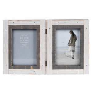 Shoreline 4-inch by 6-inch Wood Collage Picture Frame for Two Photos, White & Gray