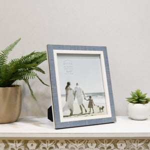 Shoreline Two-Toned 8-Inch by 10-Inch Distressed Wood Picture Frame, Blue and White