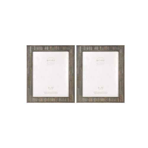 Set of Two, Pallet 8-Inch by 10-Inch Wood Picture Frame, Gray
