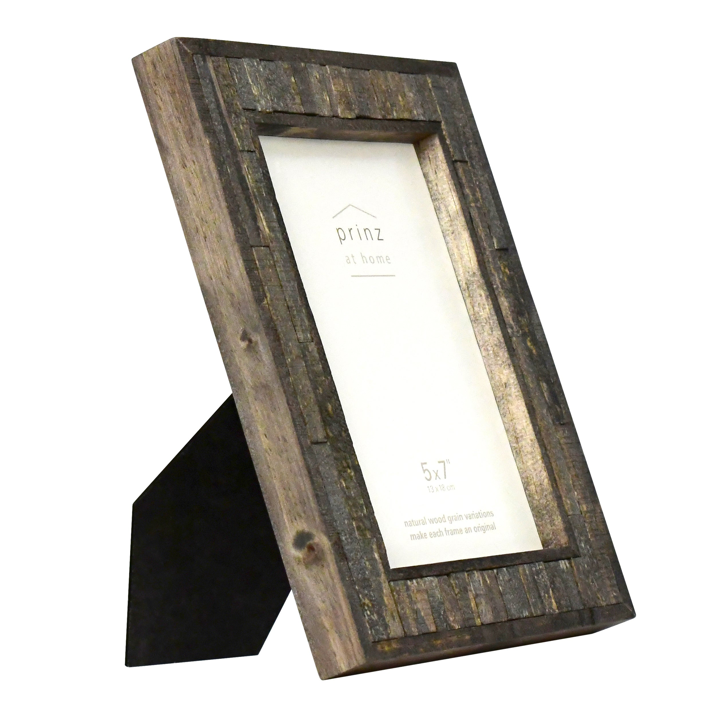 Set of Four, Pallet 5-Inch by 7-Inch Wood Picture Frame, Black