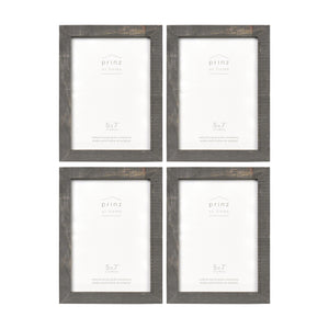 Set of Four, Pallet 5-Inch by 7-Inch Wood Picture Frame, Gray
