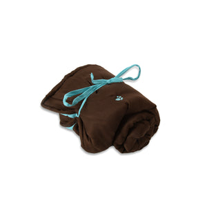 Rollup Pet Travel Bed in Dark Brown & Blue Fabric