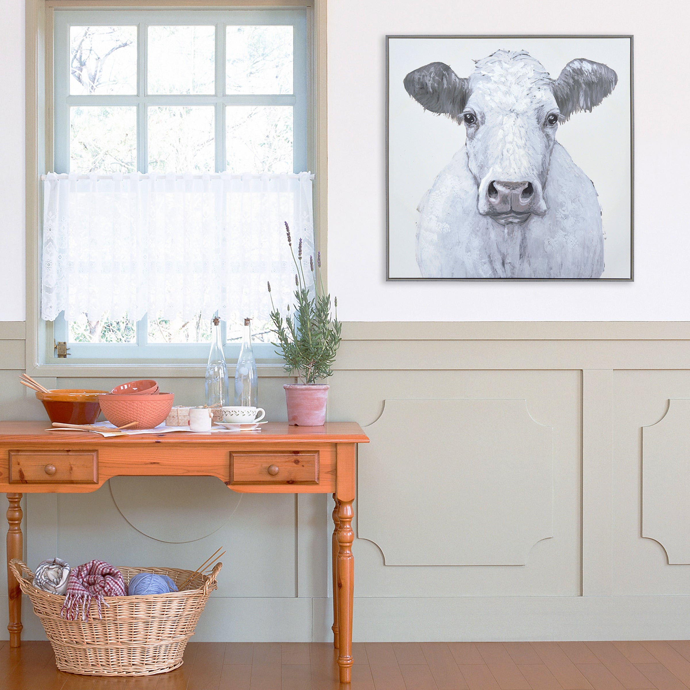"Ava Barrett 35""x 35"" White Cow Framed Embellished Canvas Wall Art"