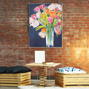 "Jill Martin 30""x 40"" Flower Bouquet Framed Canvas Wall Art"