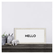 Load image into Gallery viewer, White 14-inch by 7-inch Rectangular Framed Letter Board with Changeable Letters
