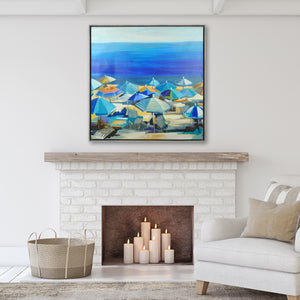 "Liz Jardine Coastal Wall Art Beach Umbrellas 35"" x 35"" Framed Canvas"