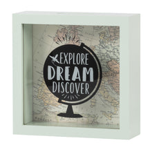 Load image into Gallery viewer, Wooden 6 x 6 Explore Dream Discover Box Bank, White