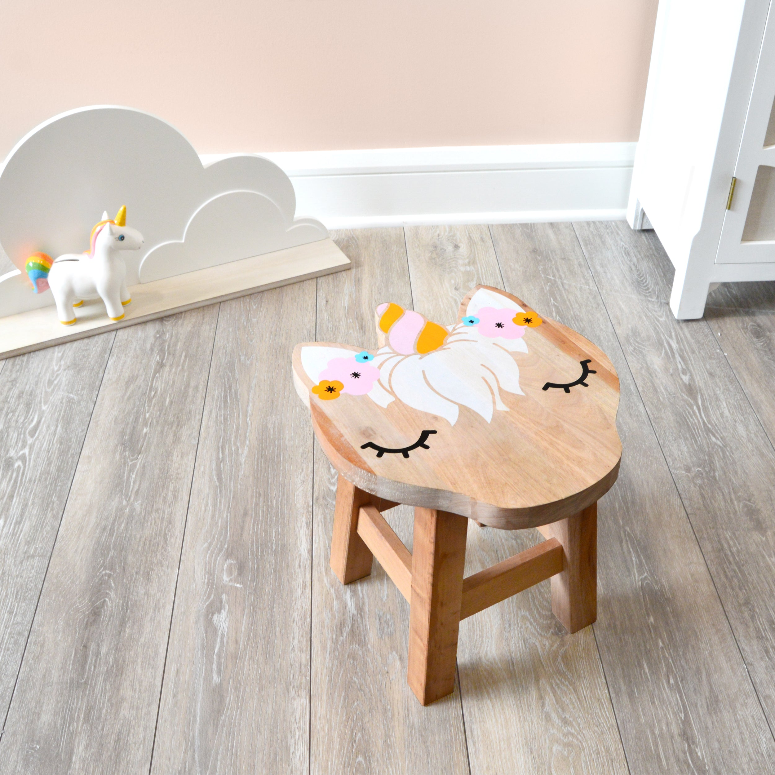 Unicorn Shaped Children's Stool with Color Printed Seat