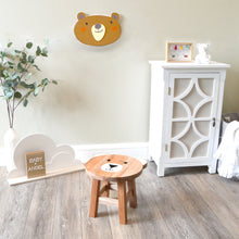 Load image into Gallery viewer, Dark Brown Bear Shaped Children's Stool with Printed Seat
