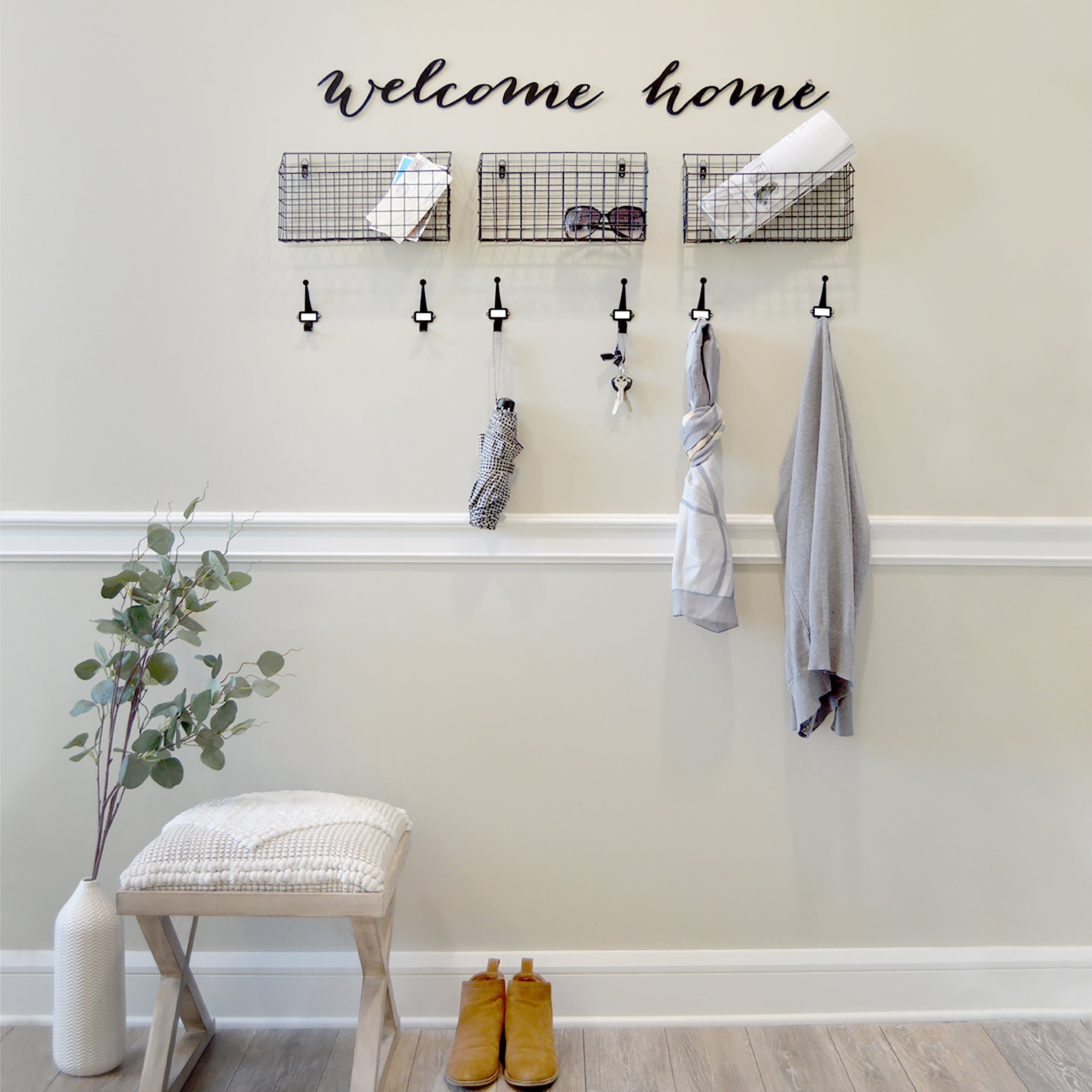 Welcome Home Hanging Entryway Wall Organizer Set 20-inches by 13-inches