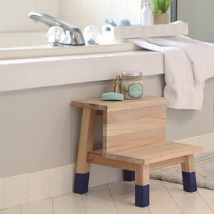 Kids Wooden Step Stool 14-inch by 16-inch with Navy Painted Leg