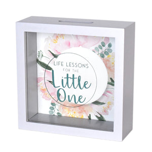 Wooden 6 x 6 Baby Fund Glass Front Box Bank, White