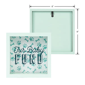 Wooden 6 x 6 Fur Baby Fund Shadowbox Bank, Light Green