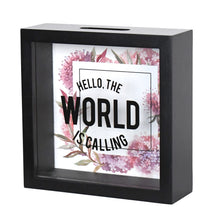 Load image into Gallery viewer, 6 x 6 World Adventure Fund Glass Front Shadowbox Bank, Red