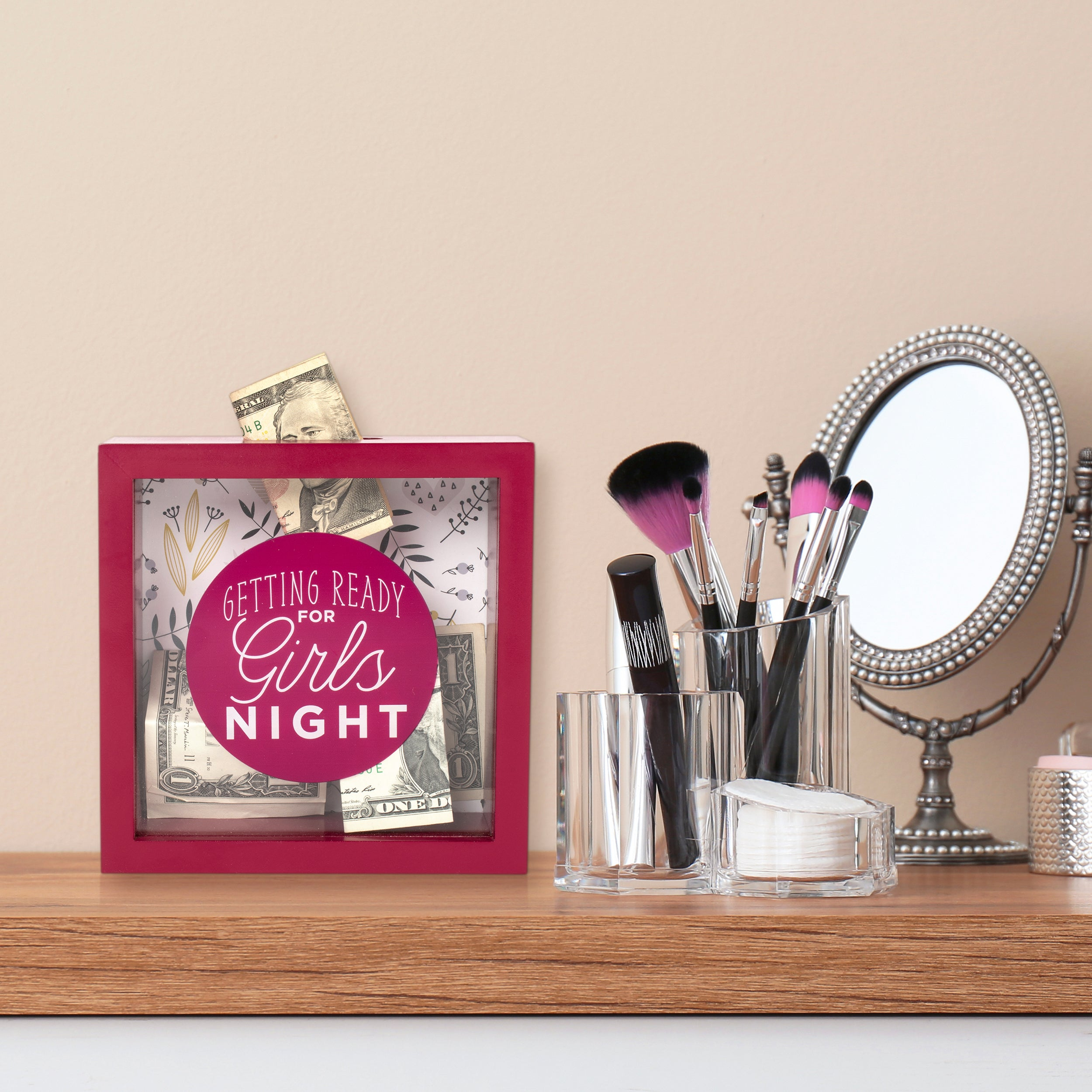 Wooden 6 x 6  Girls Night Fund Shadowbox Bank, Red