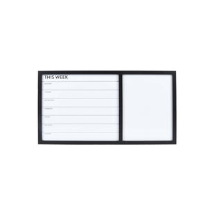 Black Framed Wall Mounted 26 x 14-inch Weekly Planner Dry Erase Board