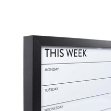 Load image into Gallery viewer, Black Framed Wall Mounted 26 x 14-inch Weekly Planner Dry Erase Board