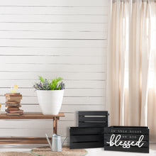 Load image into Gallery viewer, Blessed 13.4'W x 9.5'H Distressed Black Nesting Storage Crates, Set of Three