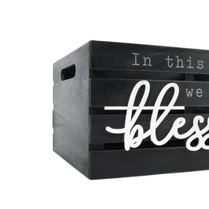 Blessed 13.4'W x 9.5'H Distressed Black Nesting Storage Crates, Set of Three