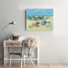 Load image into Gallery viewer, Pastel Beachside Umbrellas 36-inches by 24-inches Canvas Wall Art