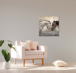 Loving Horse Duo 16-inch by 16-inch Wrapped Canvas