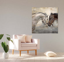 Load image into Gallery viewer, Loving Horse Duo 30-inch by 30-inch Wrapped Canvas Wall Art