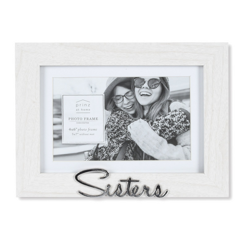 Matted White 7 X 5 to 6 X 4 Sisters Sentiment Picture Frame