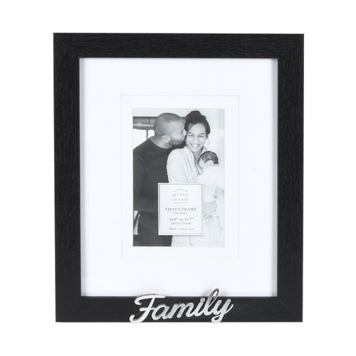 Double Matted Black 8 X 10 to 4 X 6 Family Sentiment Picture Frame
