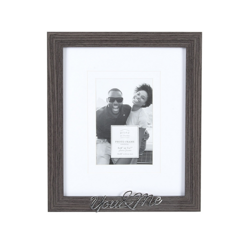 Double Matted Gray 8 X 10 to 4 X 6 You and Me Sentiment Picture Frame