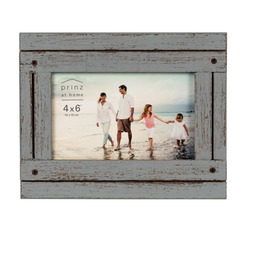 Set of Four, Homestead 4-Inch by 6-Inch Rustic Frame, Gray