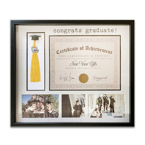 Tassel and Diploma Holder Congrats 2020 Graduate! Picture Frame Collage with 3-Photo Openings