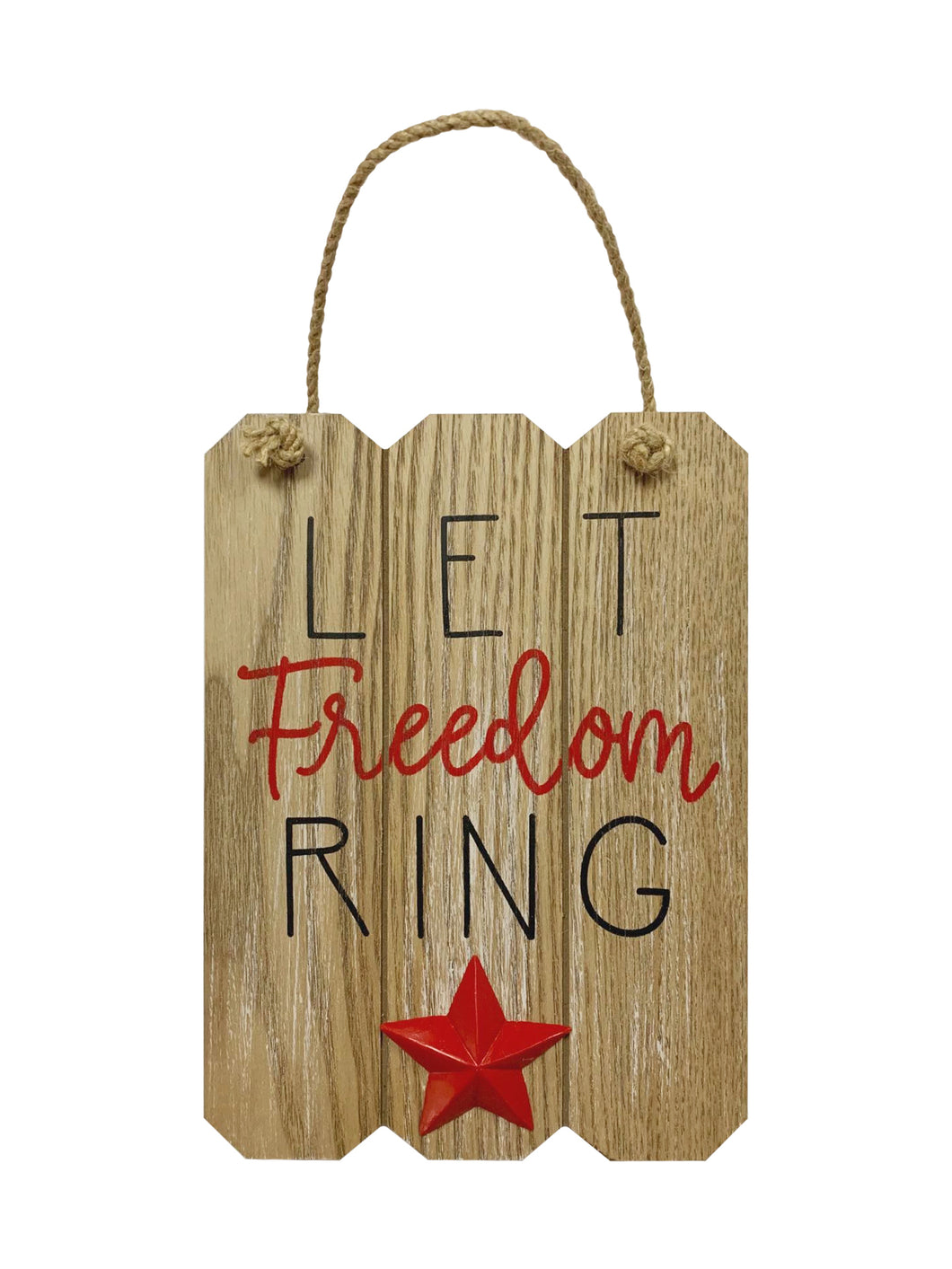 Prinz Patriotic Natural Door and Wall Hanger with Raised Icon Let Freedom Ring