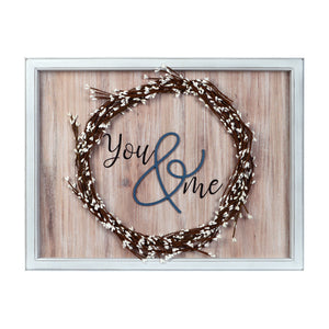You & Me Decorative Wall Art Faux Willow Wreath
