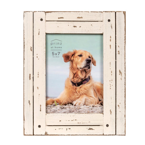 Homestead 5-inch x 7-inch Distressed Wood Picture Frame, White