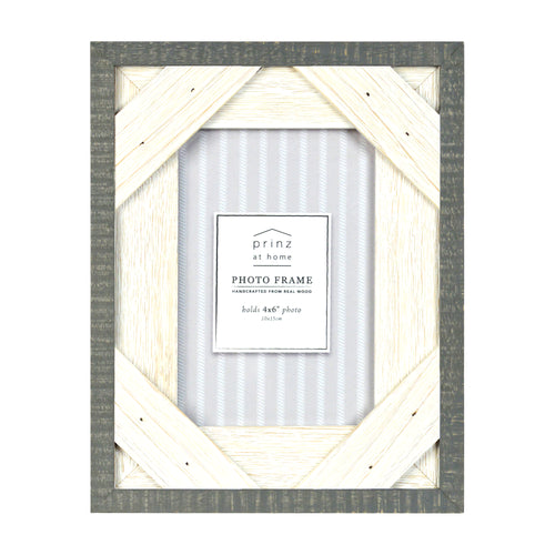 Prinz Reclaimed Gray White 4 X 6 Crosshatch Wood Picture Frame
