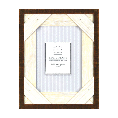 Prinz Reclaimed Walnut White 5 X 7 Crosshatch Wood Picture Frame