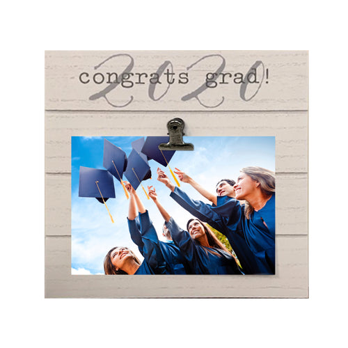 White Shiplap 9-inch by 9-inch Congrats 2020 Grad! Clip Graduation Photo Frame