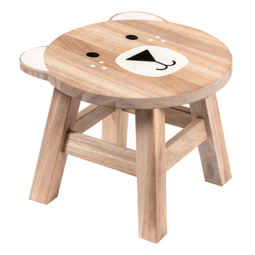 Bear Shaped Children's Stool with Color Printed Seat