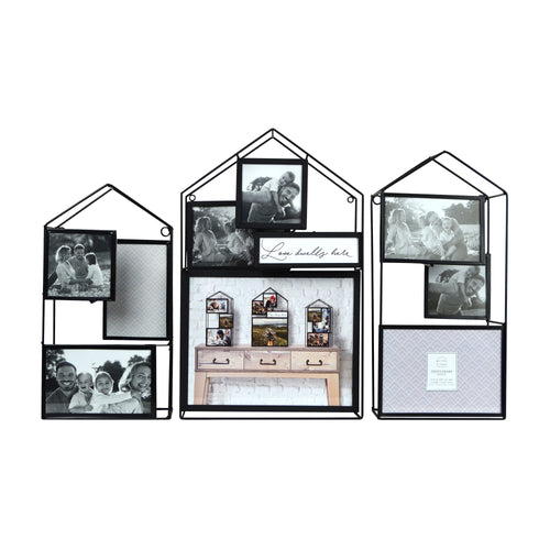 Three Dimensional House Metal Wire Collage Picture Display, 9 Openings