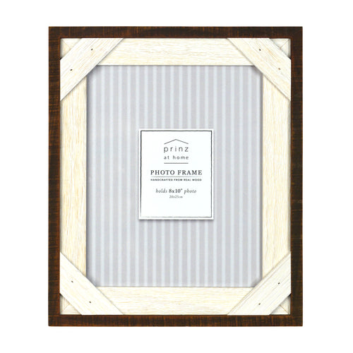 Reclaimed 8 x 10-inch Crosshatch Rustic Wood Picture Frame, Walnut-White