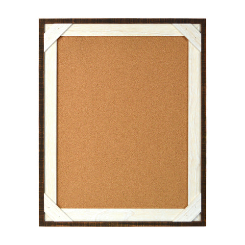 Reclaimed 16 x 20 Crosshatch Wood Frame Corkboard, Walnut-White