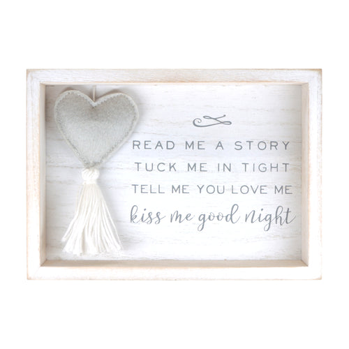 Kiss Me Goodnight Plush Heart Decorative Nursery Wall Plaque