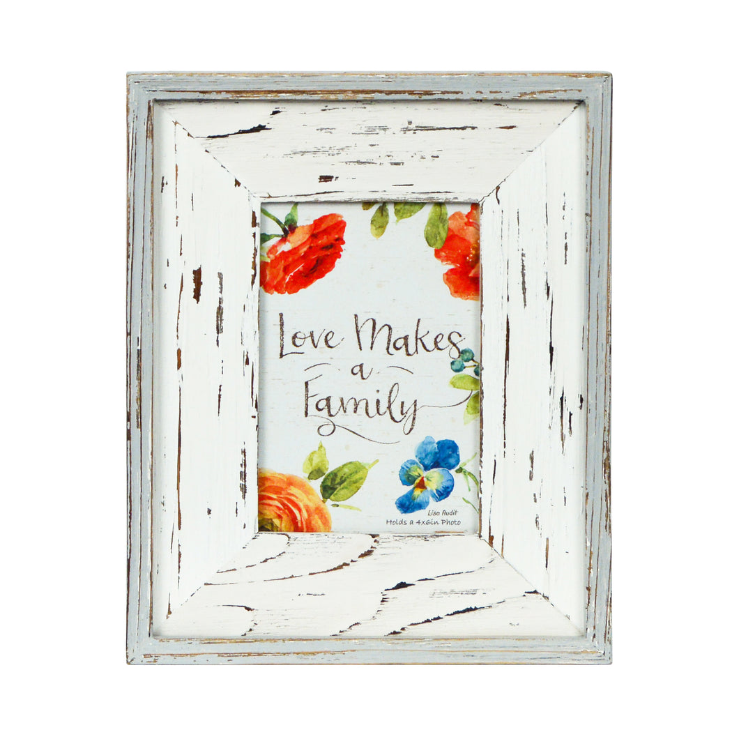 Lisa Audit Distressed Wood 4-inches by 6-inches Picture Frame, Weathered White/Grey